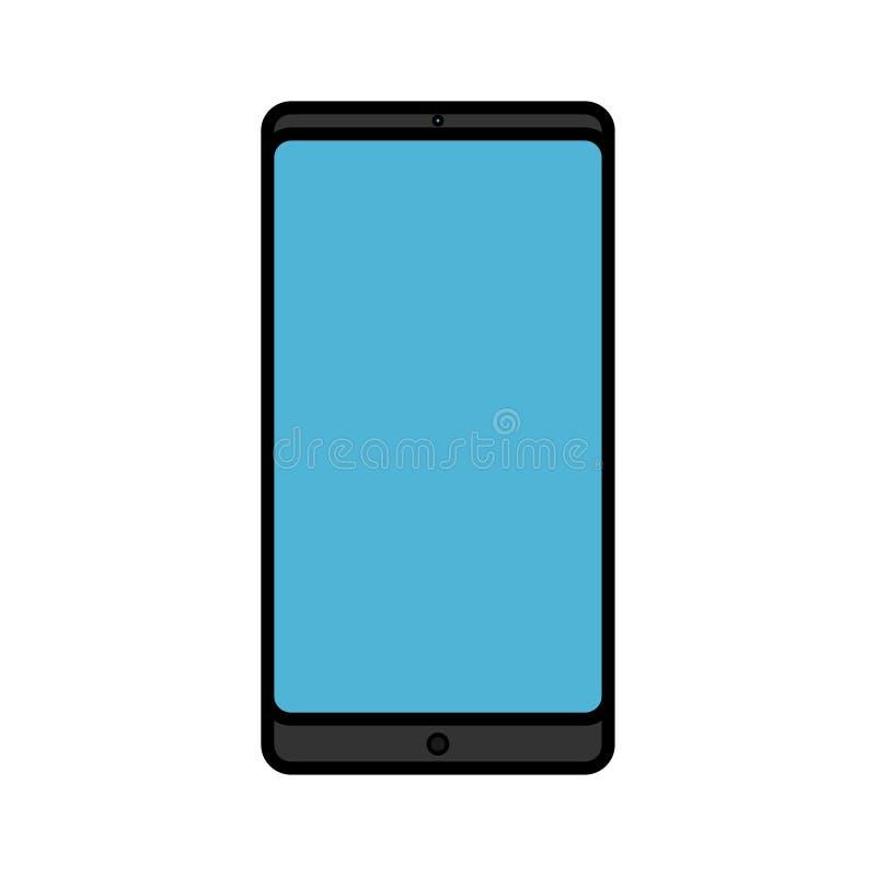 Ejemplo del vector de un icono rectangular elegante digital digital moderno del teléfono móvil del smartphone con aislado en el f ilustración del vector