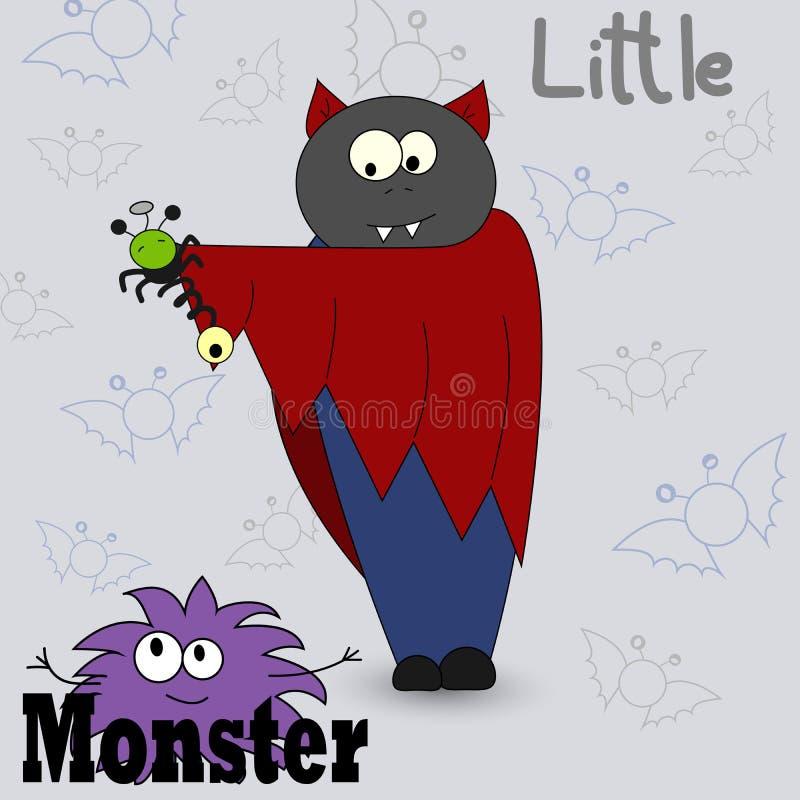 Ejemplo del vector de un monstruo de la historieta Impresión de la historieta Diseño de tarjetas con un monstruo Vampiro de la hi ilustración del vector