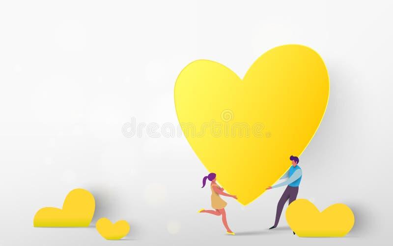 Ejemplo del vector de un par que lleva a cabo el togather amarillo del corazón encendido stock de ilustración