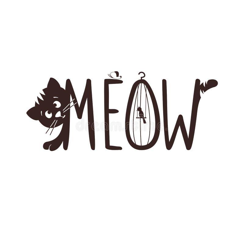 Ejemplo del vector de un pequeño gatito El maullido del gato s libre illustration