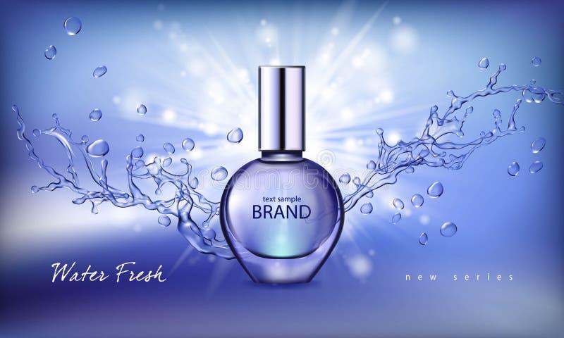 Ejemplo del vector de un perfume realista del estilo en una botella de cristal en un fondo azul con el chapoteo del agua stock de ilustración