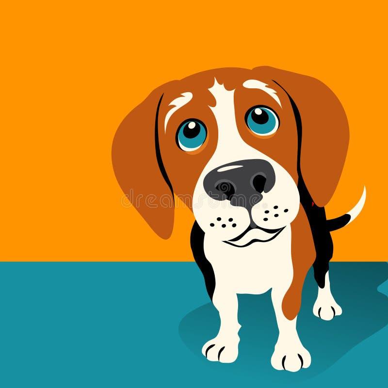 Ejemplo del vector de un perro lindo del beagle ilustración del vector