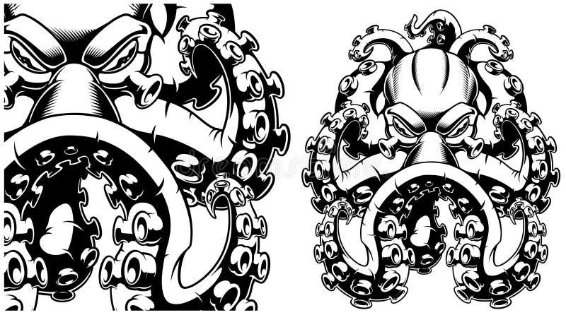 Ejemplo del vector de un pulpo blanco y negro stock de ilustración