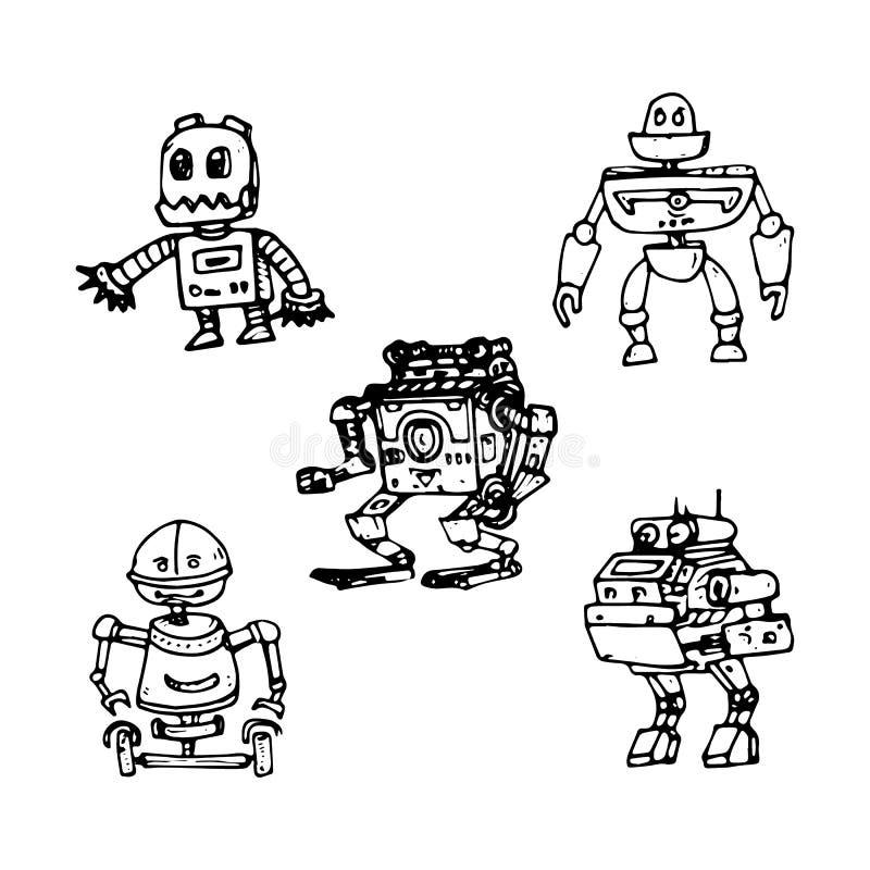 Ejemplo del vector de un robot Diseño de carácter mecánico Fije de cinco diversos robots Página del libro de colorear ilustración del vector