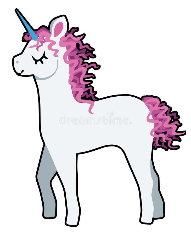 Ejemplo del vector de un unicornio blanco lindo de la historieta con la melena rizada rosada ilustración del vector