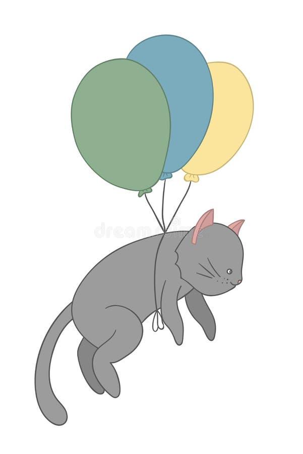 Ejemplo del vector de un vuelo del gato en los globos coloreados libre illustration