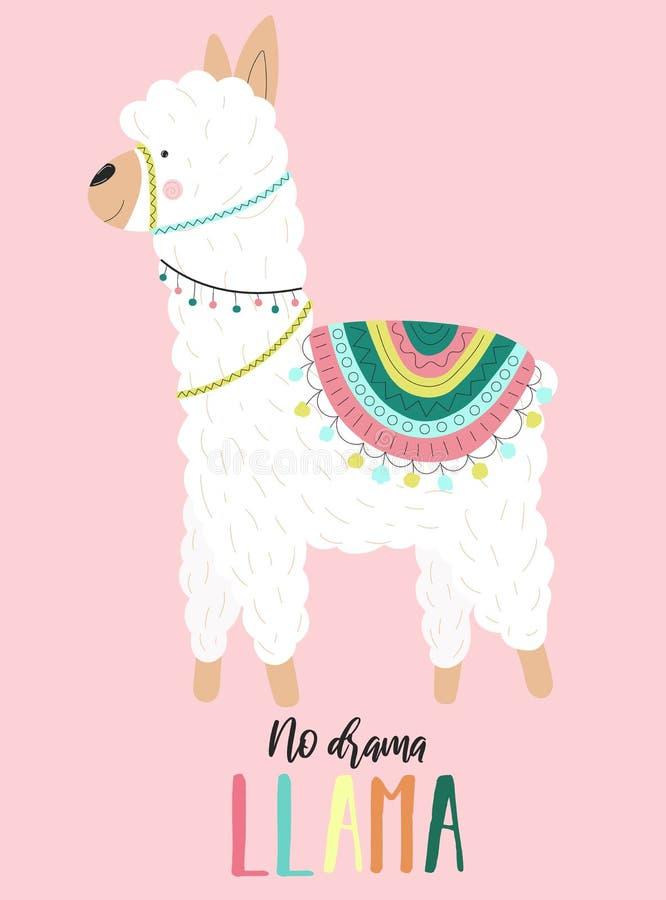 Ejemplo del vector de una alpaca blanca linda en ropa con motivos nacionales con una inscripción ninguna llama del drama en un ba libre illustration