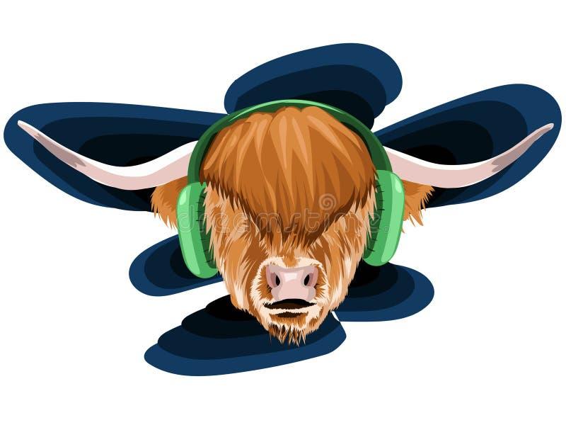 Ejemplo del vector de una cara de un toro con polina y pelo muy largo y marrón mullido con dos cuernos grandes en esta música con stock de ilustración