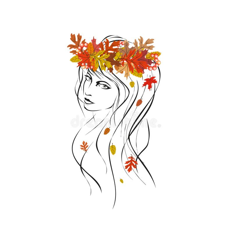 Ejemplo del vector de una chica joven en su guirnalda principal de las hojas de otoño stock de ilustración