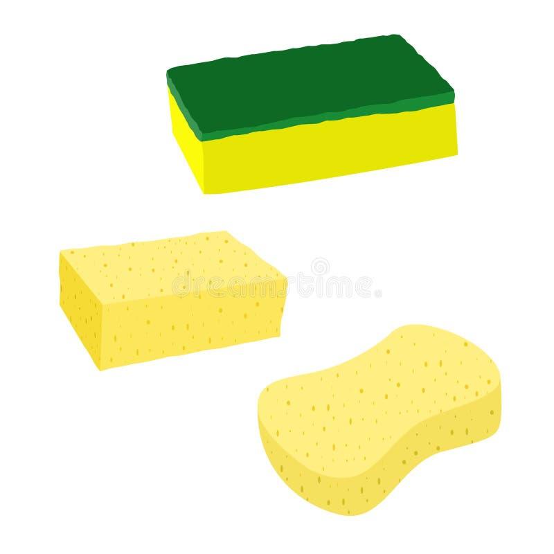 Ejemplo del vector de una clase de esponja para los artículos que se lavan en una cocina con un fondo blanco stock de ilustración