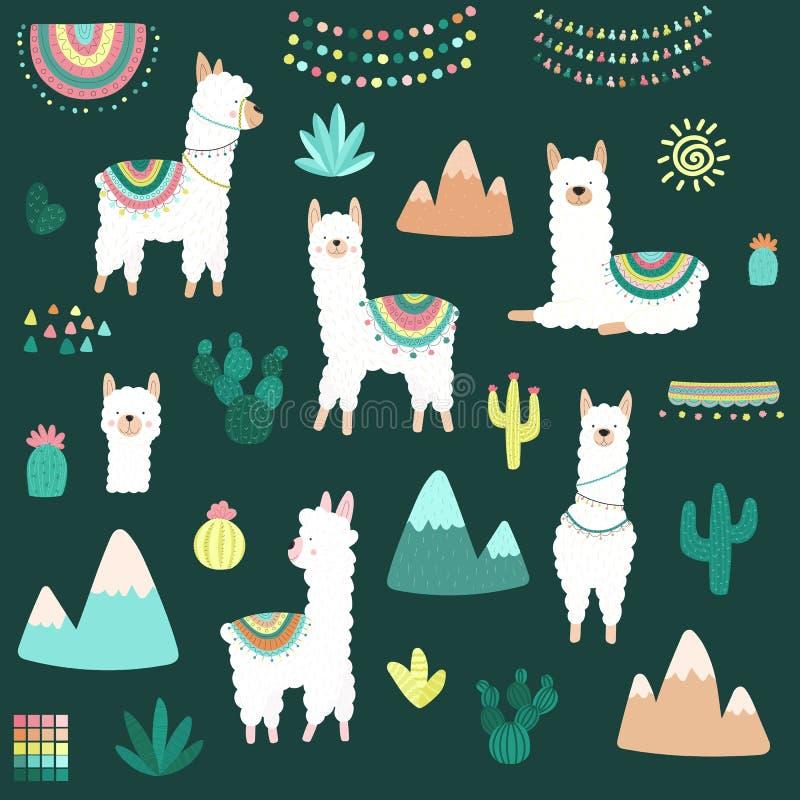 Ejemplo del vector de una colección a mano de cactus blancos de las llamas, montañas, ropa, ornamentos en el fondo oscuro imagen ilustración del vector