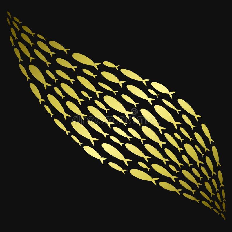 Ejemplo del vector de una escuela del pez de colores Siluetas de oro de pequeños pescados Vida marina estilizada Logotipo con una libre illustration