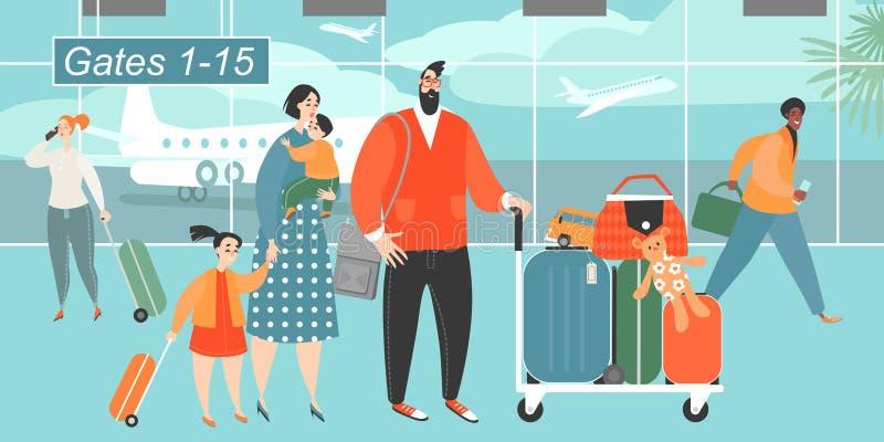 Ejemplo del vector de una familia feliz que viaja con dos niños stock de ilustración