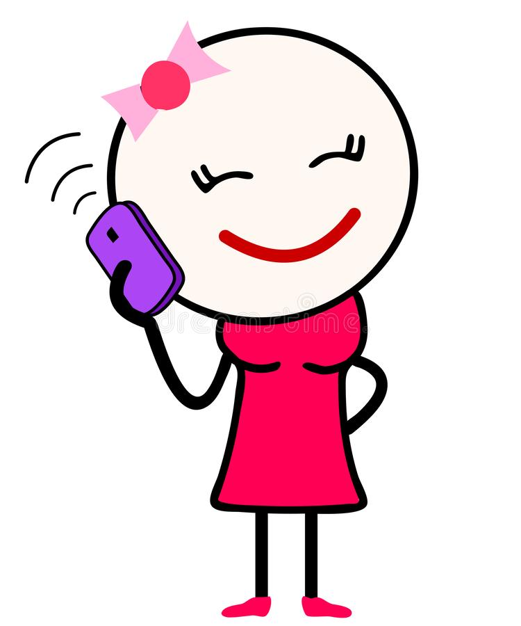 Ejemplo del vector de una historieta linda de la muchacha que habla sobre el teléfono móvil libre illustration