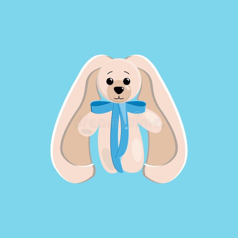 Ejemplo del vector de una liebre linda del juguete con los oídos largos y un arco azul en el cuello pintado en sombras delicadas  ilustración del vector