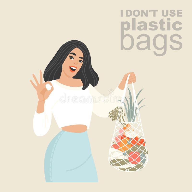 Ejemplo del vector de una mujer joven con una red que hace compras de la materia textil respetuosa del medio ambiente en sus mano imagenes de archivo