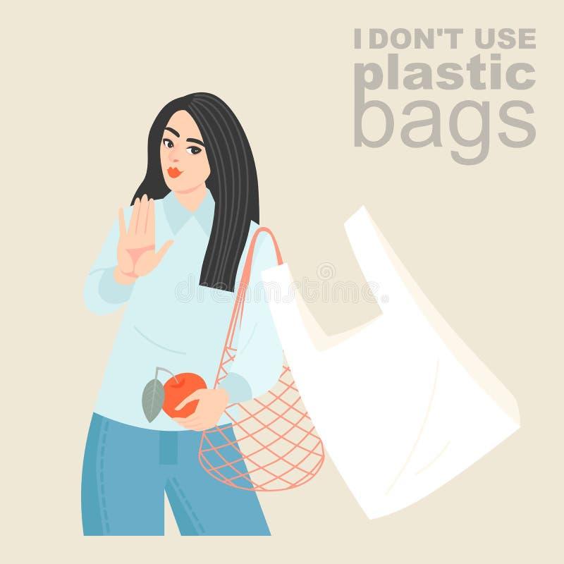 Ejemplo del vector de una mujer joven con un bolso de compras respetuoso del medio ambiente de la malla que rechaza una bolsa de  foto de archivo