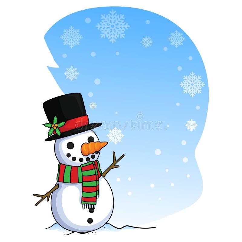 Ejemplo del vector de una tarjeta del muñeco de nieve con las escamas de la nieve que caen stock de ilustración