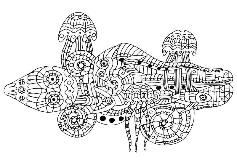 Ejemplo del vector de una vida marina del garabato ilustración del vector