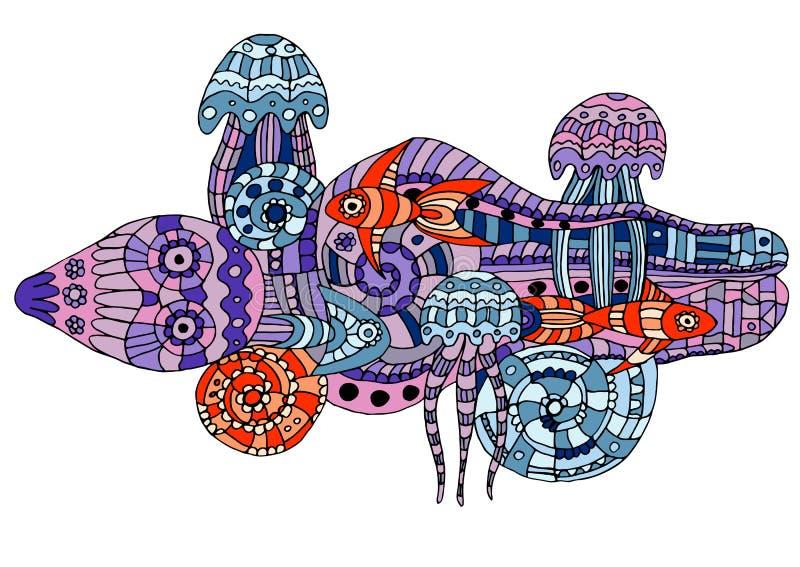Ejemplo del vector de una vida marina del garabato libre illustration
