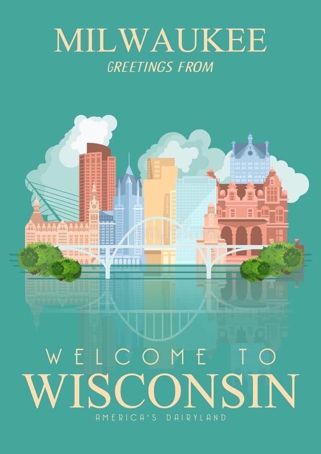 Ejemplo del vector de Wisconsin con la ciudad Milwaukee País de la lechería de Américas Postal del viaje ilustración del vector