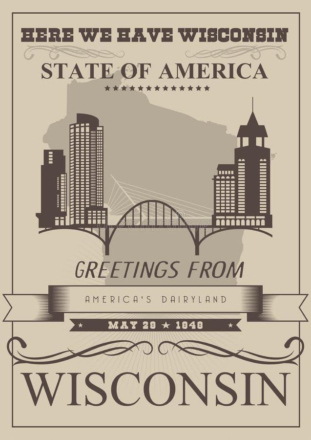 Ejemplo del vector de Wisconsin con la silueta de la ciudad País de la lechería de Américas Postal del viaje stock de ilustración