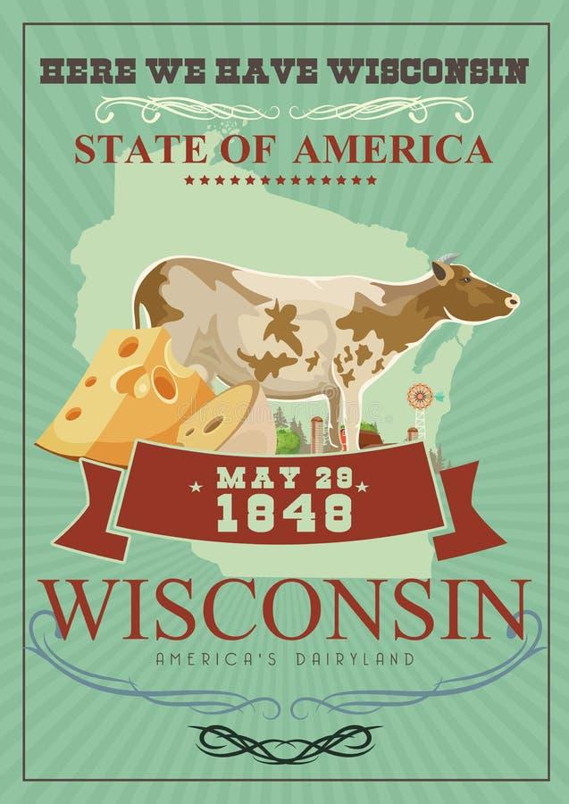 Ejemplo del vector de Wisconsin en estilo del vintage País de la lechería de Américas Postal del viaje stock de ilustración