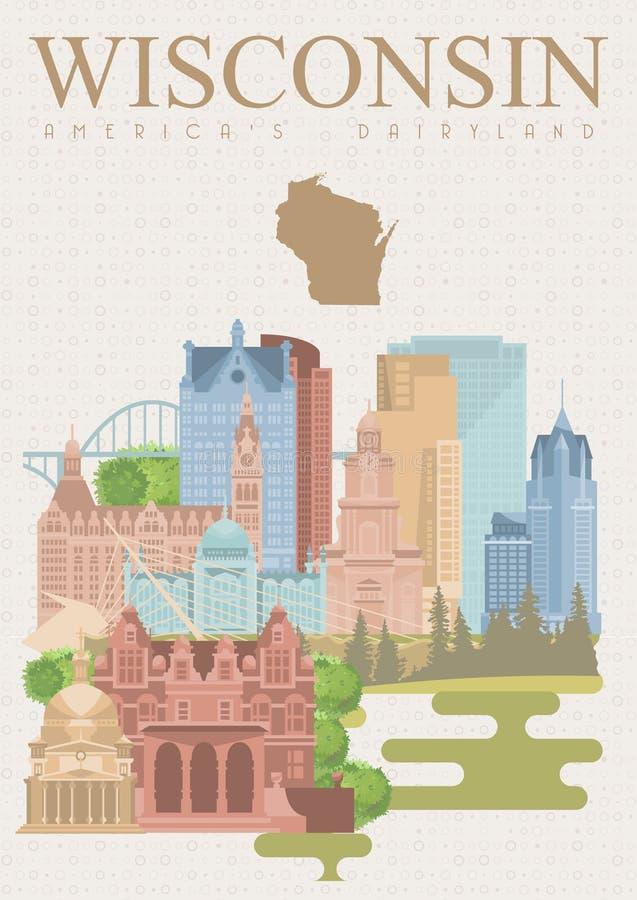 Ejemplo del vector de Wisconsin País de la lechería de Américas Postal del viaje ilustración del vector