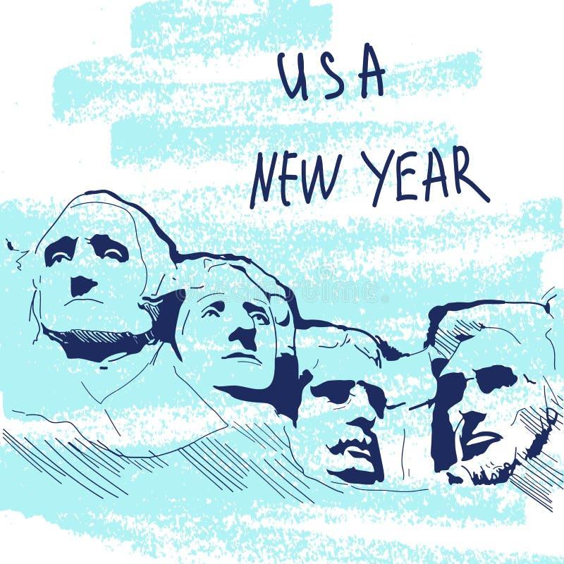 Ejemplo del vector del Año Nuevo Serie famosa de Landmarck: Los E.E.U.U., el monte Rushmore, seis abuelos Año Nuevo de los E ilustración del vector