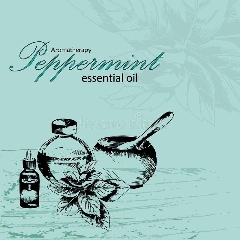 Ejemplo del vector del aceite esencial de la hierbabuena ilustración del vector