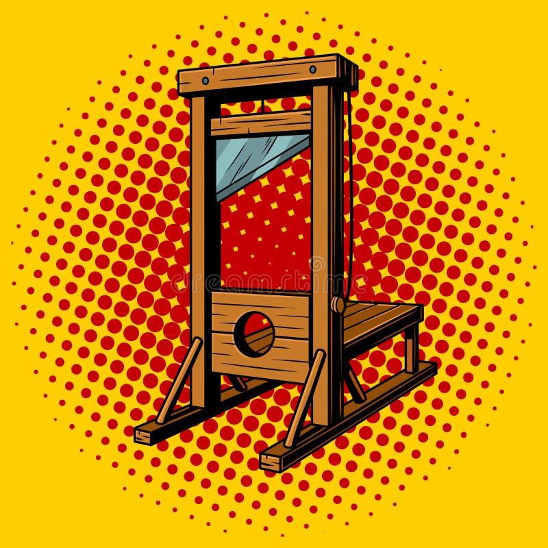 Ejemplo del vector del arte pop de la guillotina stock de ilustración