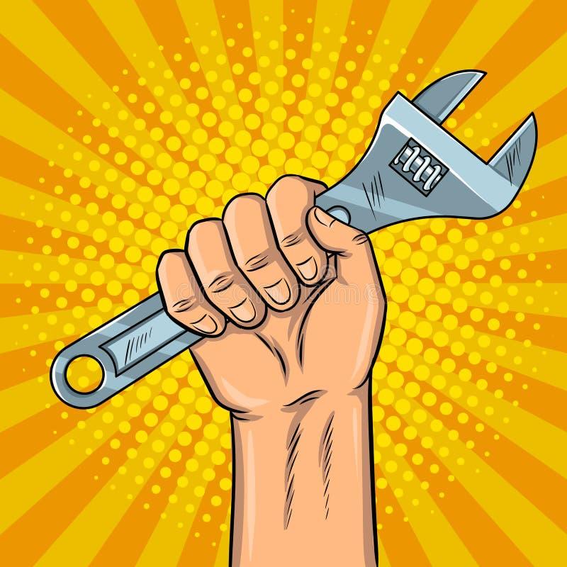 Ejemplo del vector del arte pop de la llave ajustable stock de ilustración