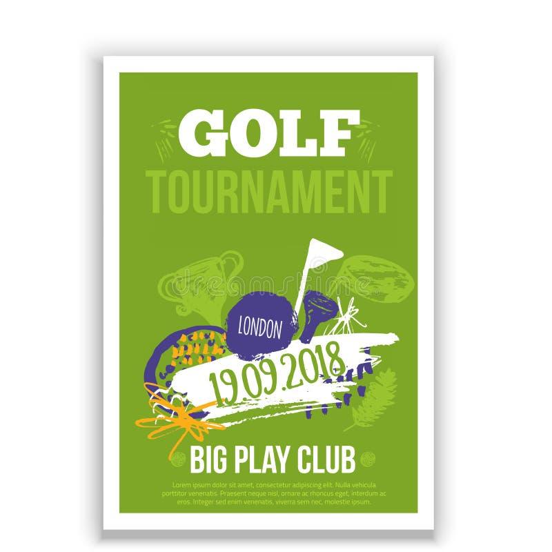 Ejemplo del vector del aviador del golf Invitación del diseño del torneo con los elementos dibujados mano del grunge Fácil correg ilustración del vector