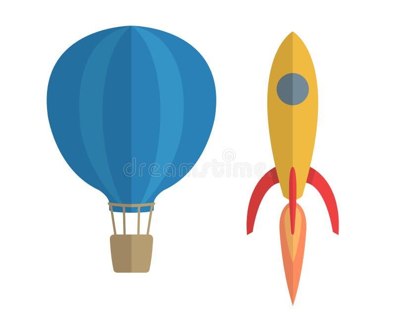 Ejemplo del vector del balón y del cohete de aire stock de ilustración