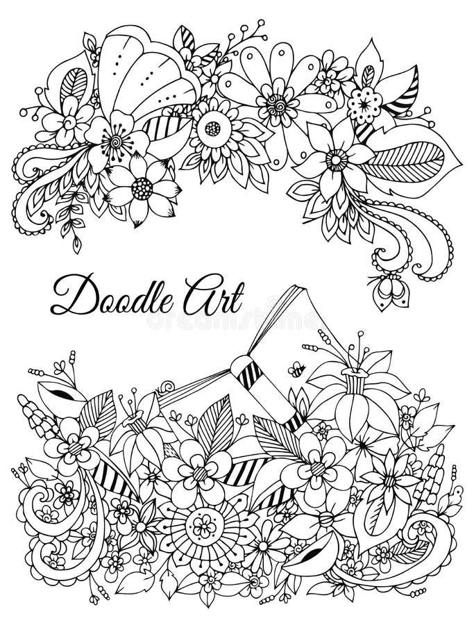 Ejemplo del vector del bastidor floral Zen Tangle ilustración del vector