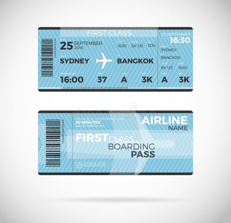 Ejemplo del vector del boleto del documento de embarque de la línea aérea stock de ilustración