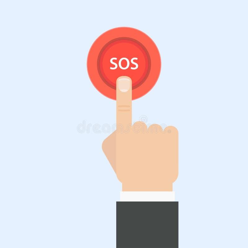 Ejemplo del vector del botón el SOS stock de ilustración