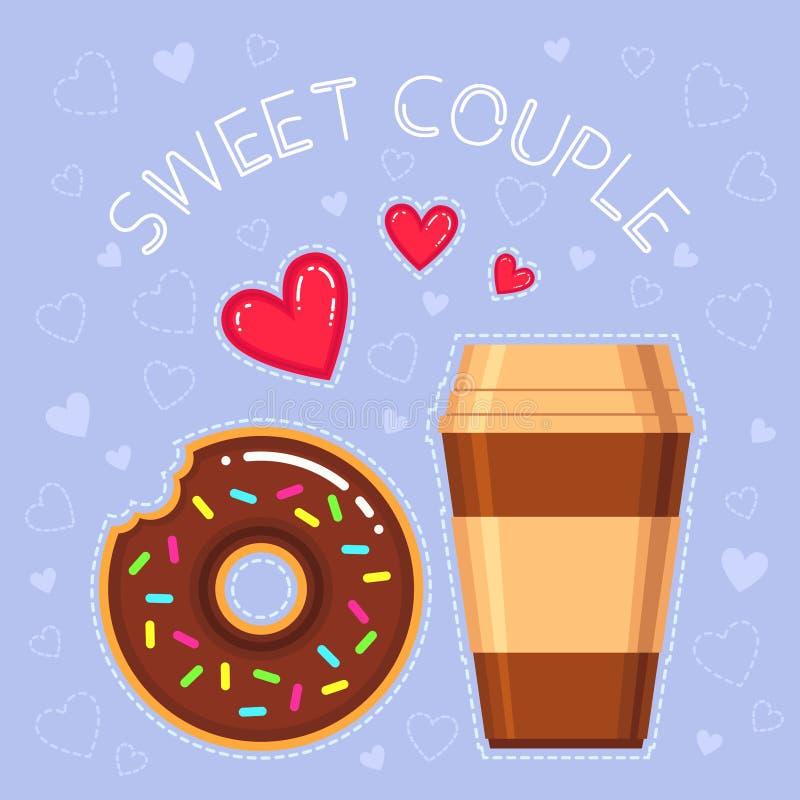 Ejemplo del vector del buñuelo con el esmalte del chocolate, taza de café, corazones rojos libre illustration