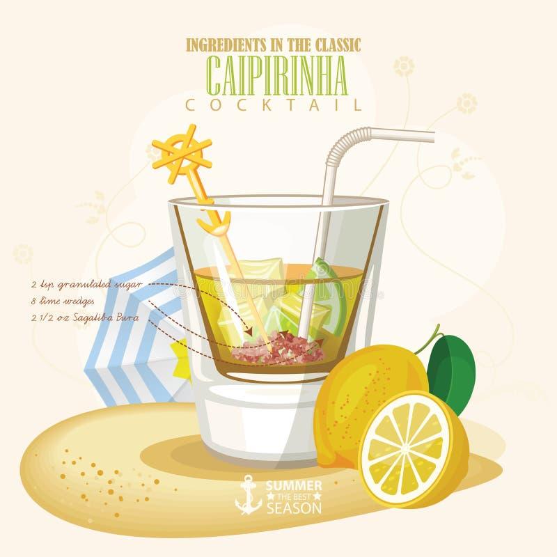 Ejemplo del vector del cóctel alcohólico Tiro del alcohol del club de Caipirinha libre illustration