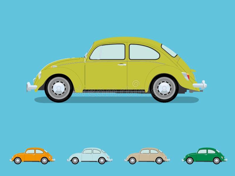 Ejemplo del vector del coche del escarabajo del vintage ilustración del vector