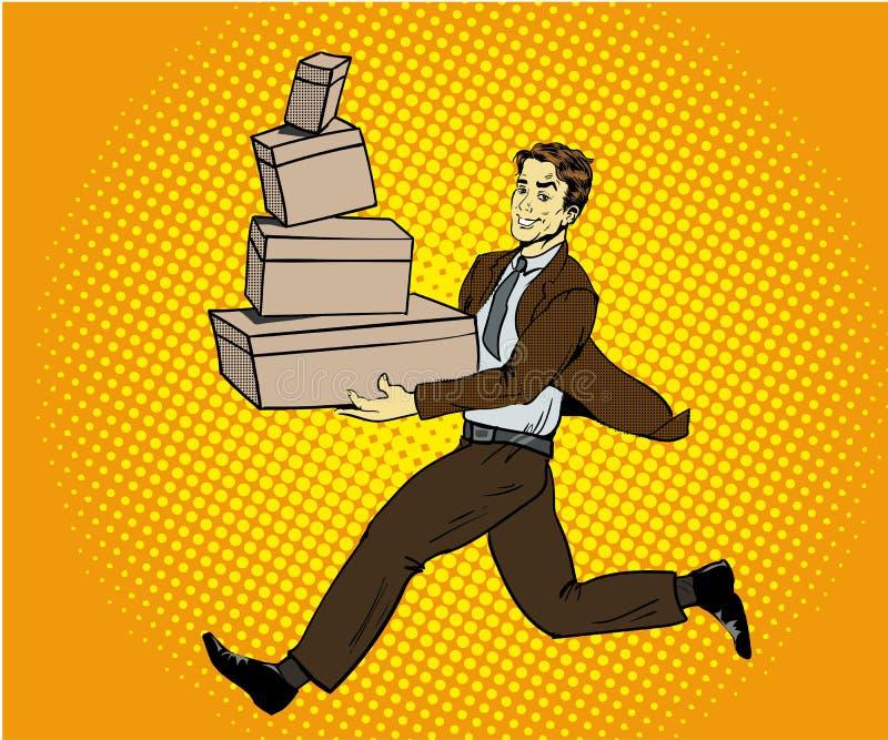 Ejemplo del vector del concepto de la entrega del arte pop Hombre que da la caja stock de ilustración