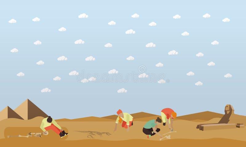Ejemplo del vector del concepto de la excavación, pirámides egipcias y estatua de la esfinge ilustración del vector