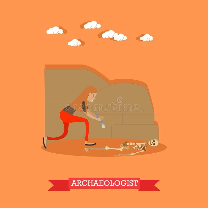 Ejemplo del vector del concepto de la profesión del arqueólogo en estilo plano libre illustration