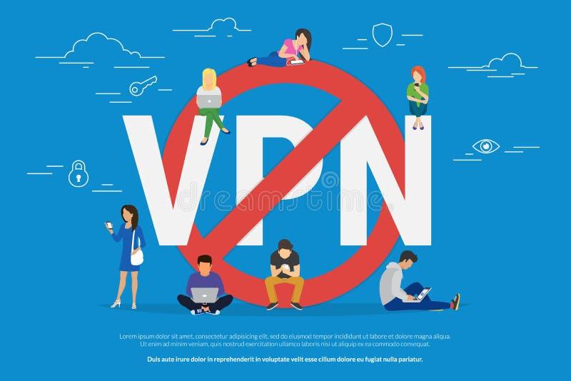 Ejemplo del vector del concepto de la prohibición del VPN ilustración del vector