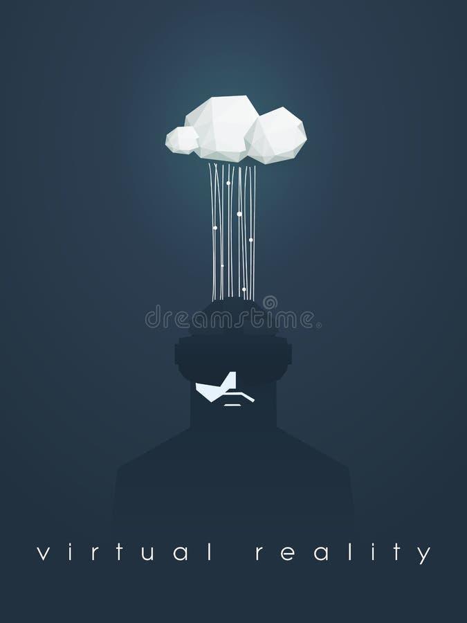 Ejemplo del vector del concepto de la realidad virtual con el hombre y las auriculares Flujo de datos a nublarse libre illustration
