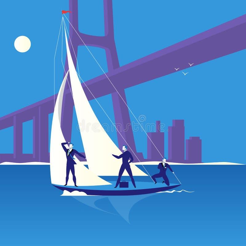 Ejemplo del vector del concepto de la regata del negocio en estilo plano stock de ilustración