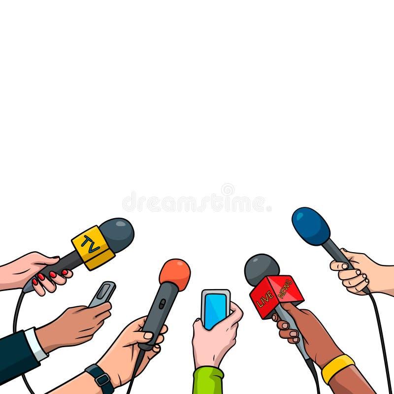 Ejemplo del vector del concepto del periodismo en estilo cómico del arte pop Sistema de manos que sostienen los micrófonos y las  stock de ilustración