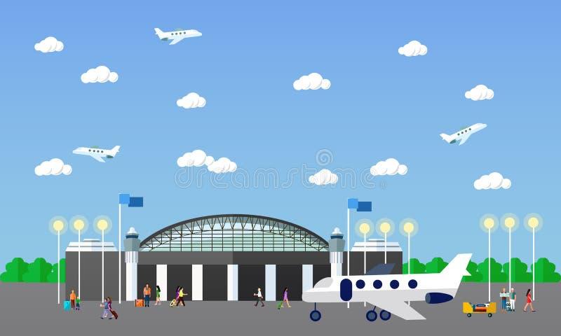 Ejemplo del vector del concepto del terminal de aeropuerto Elementos y banderas del diseño en estilo plano Viajes stock de ilustración