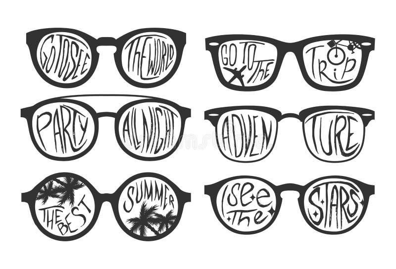 Ejemplo del vector del concepto del viaje en estilo blanco y negro Texto de la motivación en gafas de sol ilustración del vector