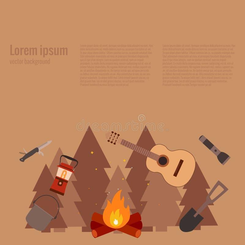 Ejemplo del vector del concepto que acampa libre illustration